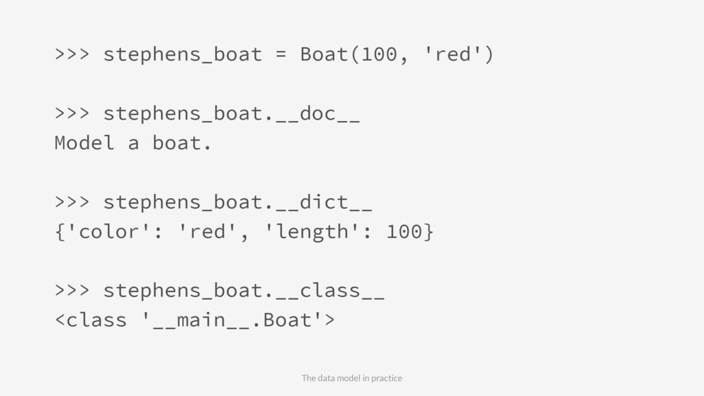 >>> stephens_boat = Boat(100, 'red') >>> stephe...