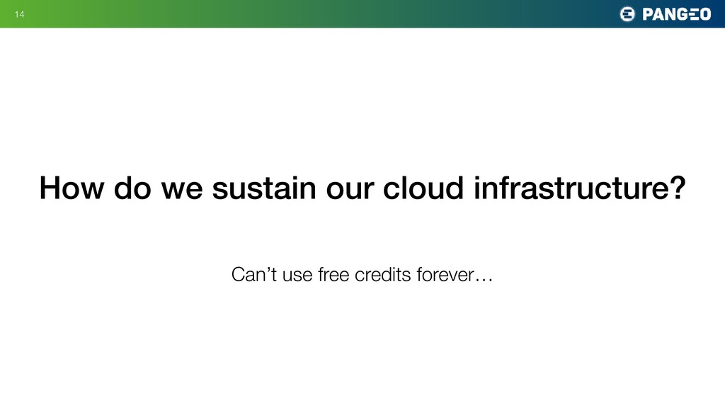 !14 How do we sustain our cloud infrastructure?...