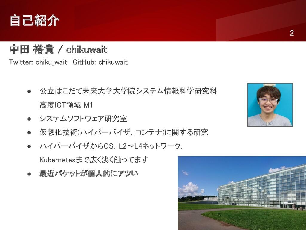 自己紹介 2 中田 裕貴 / chikuwait Twitter: chiku_wait...