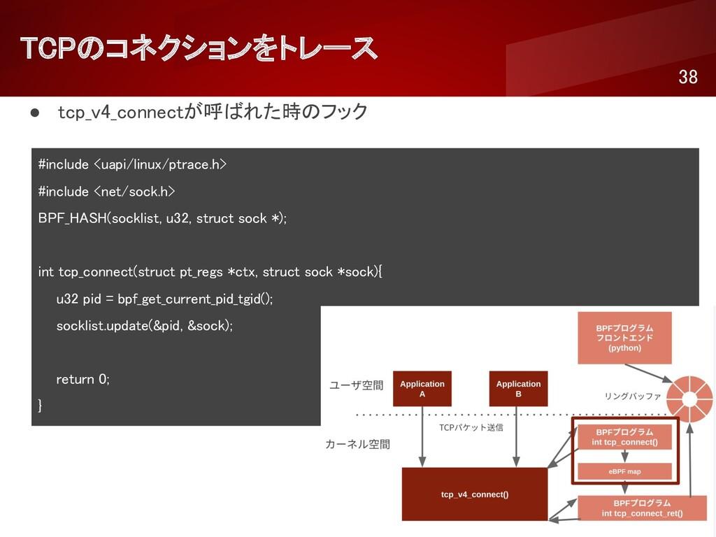 TCPのコネクションをトレース 38 ● tcp_v4_connectが呼ばれた時のフック...