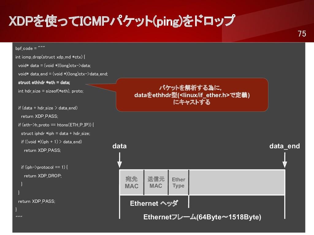 """XDPを使ってICMPパケット(ping)をドロップ 75 bpf_code = """"""""""""..."""