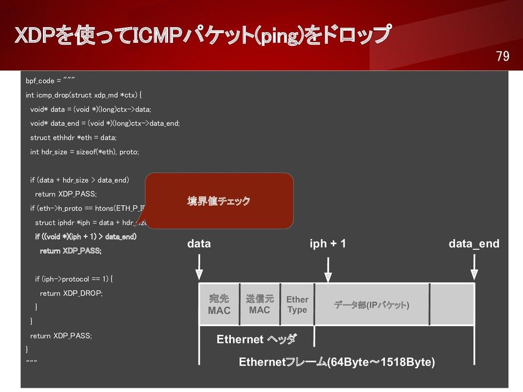 """XDPを使ってICMPパケット(ping)をドロップ 79 bpf_code = """"""""""""..."""