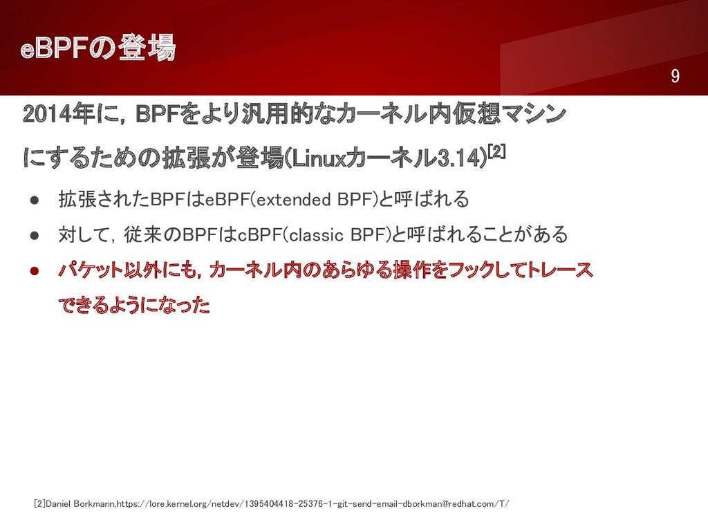 eBPFの登場 9 2014年に,BPFをより汎用的なカーネル内仮想マシン にするための...