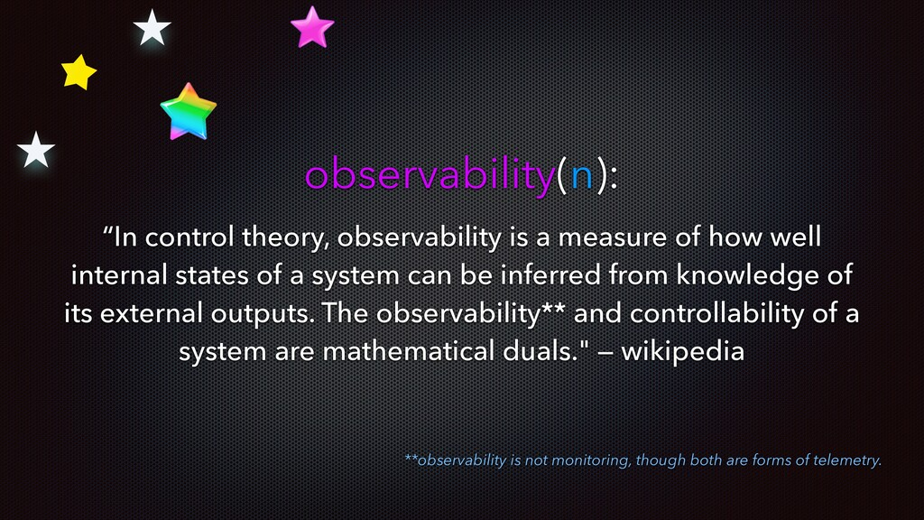 """observability(n): """"In control theory, observabi..."""