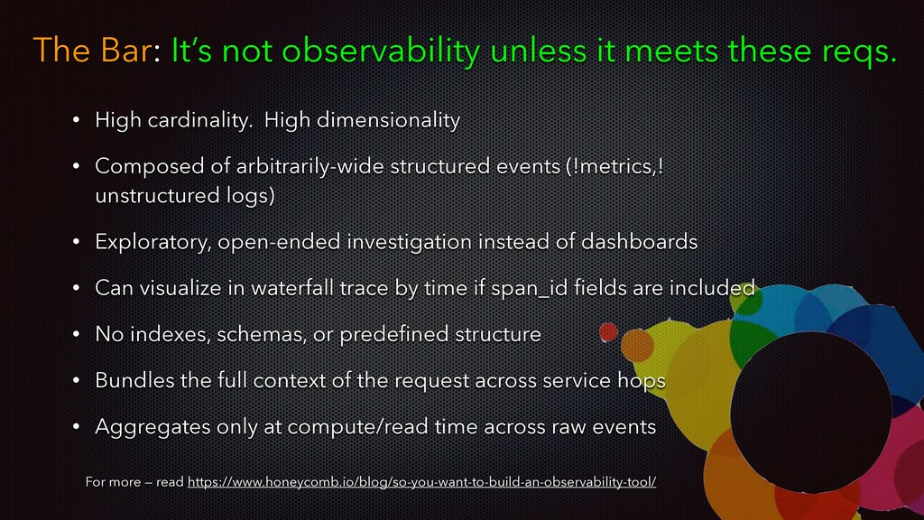 The Bar: It's not observability unless it meets...