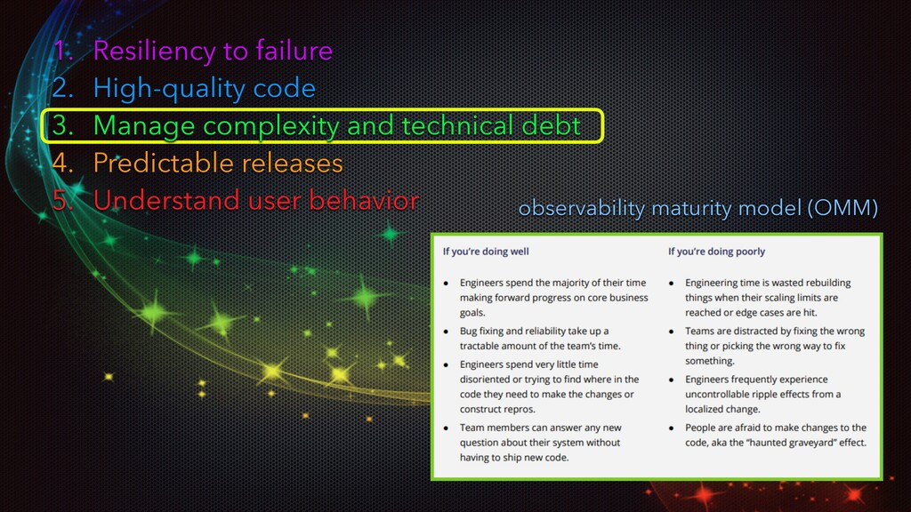 1. Resiliency to failure 2. High-quality code 3...