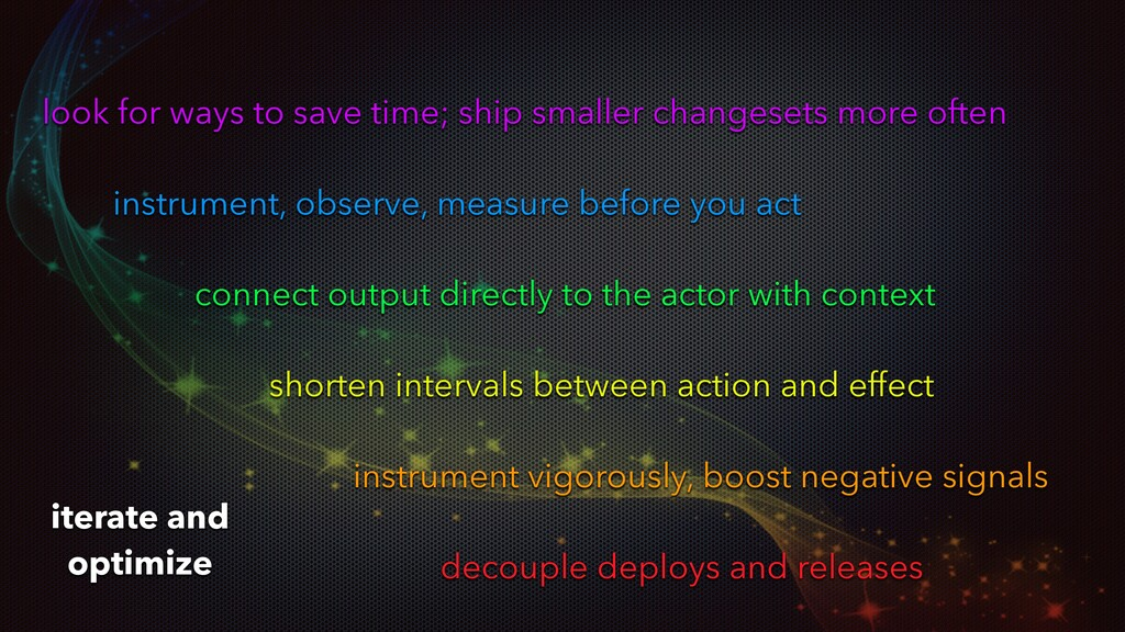 look for ways to save time; ship smaller change...