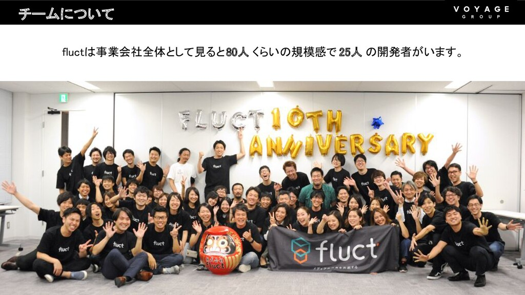 fluctは事業会社全体として見ると 80人 くらいの規模感で 25人 の開発者がいます。 ...