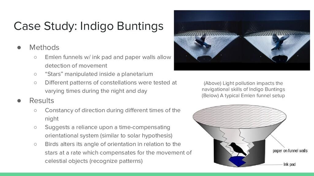 Case Study: Indigo Buntings ● Methods ○ Emlen f...