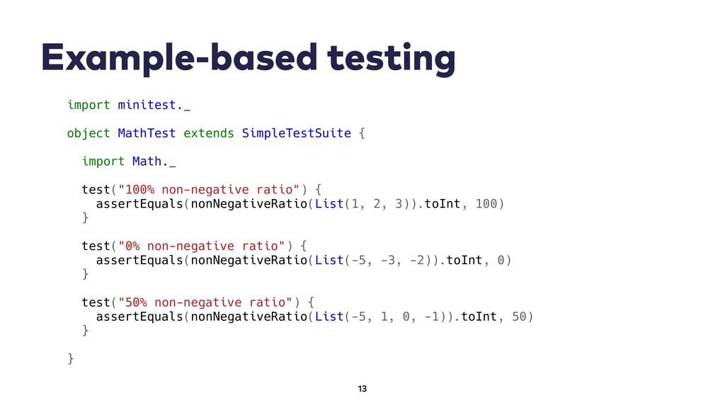 Example-based testing 13 import minitest._ obje...