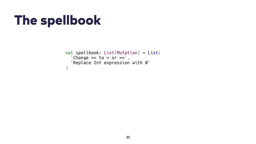 The spellbook 33 val spellbook: List[Mutation] ...