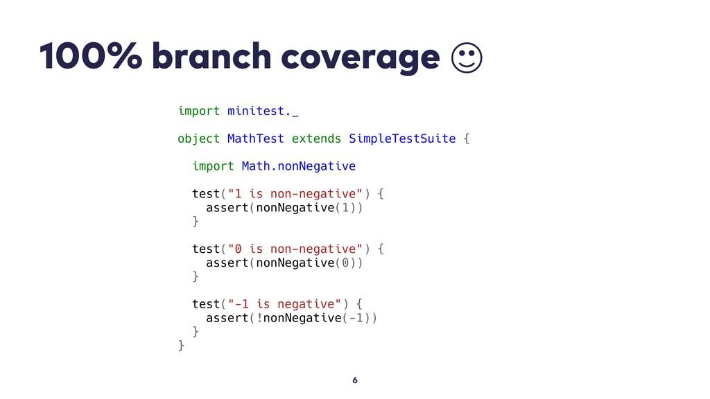 100% branch coverage  6 import minitest._ objec...