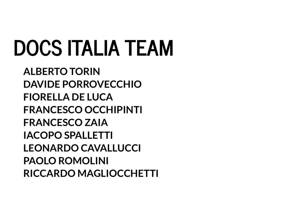 DOCS ITALIA TEAM DOCS ITALIA TEAM ALBERTO TORIN...