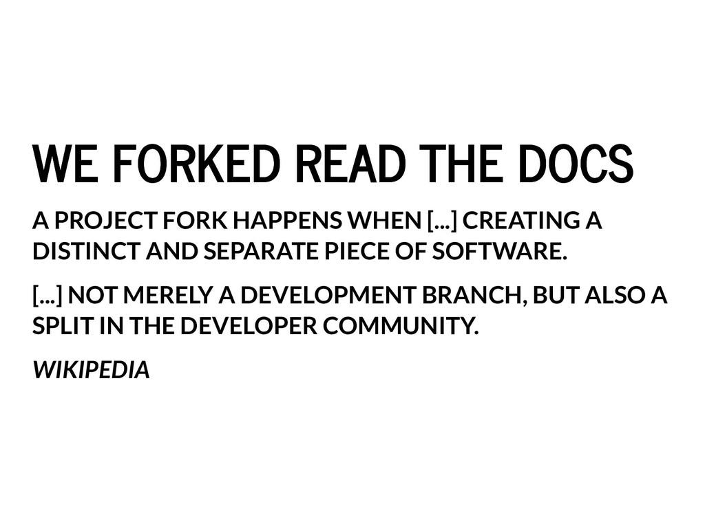 WE FORKED READ THE DOCS WE FORKED READ THE DOCS...