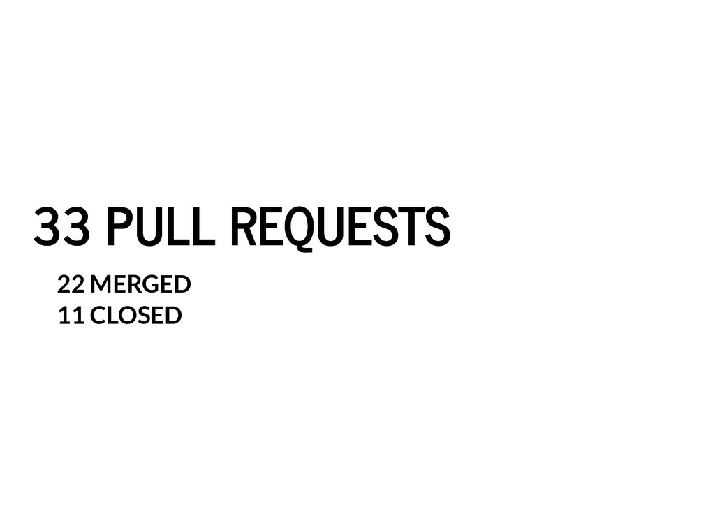 33 PULL REQUESTS 33 PULL REQUESTS 22 MERGED 11 ...