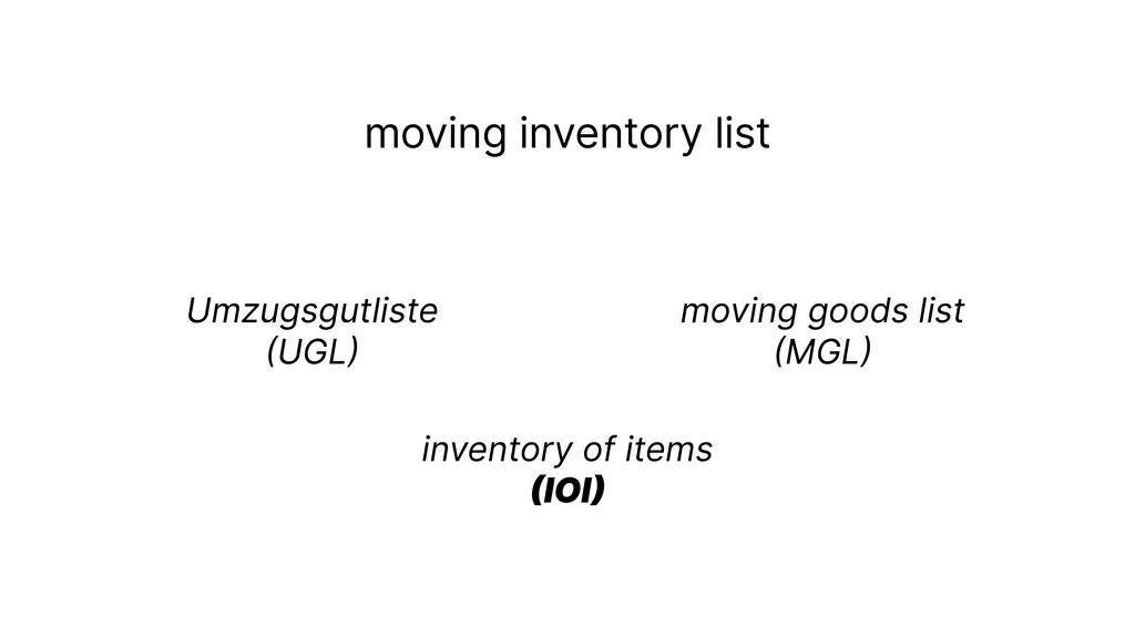 moving inventory list Umzugsgutliste  ( UGL ) ...