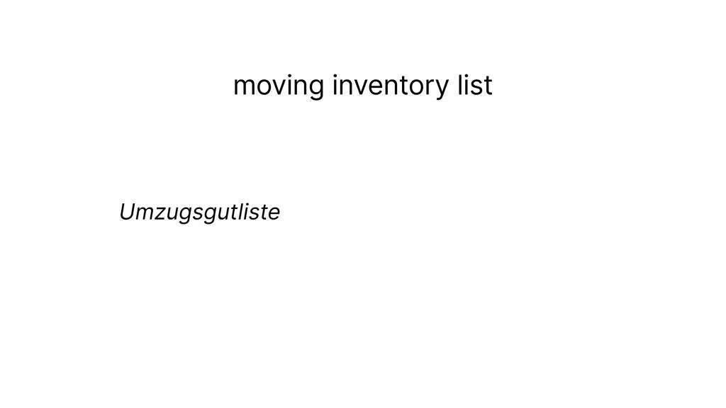 moving inventory list Umzugsgutliste
