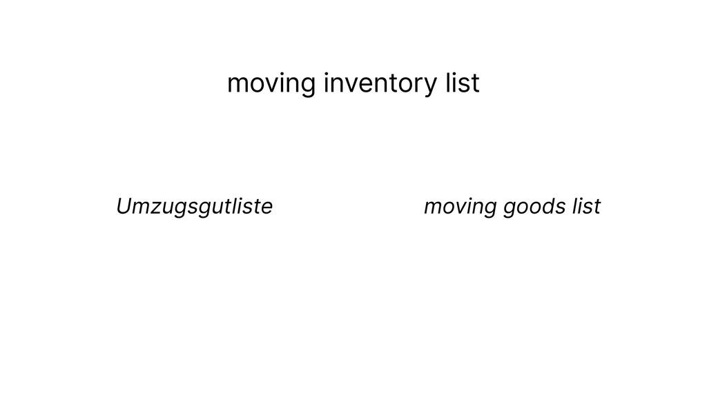 moving inventory list Umzugsgutliste moving goo...