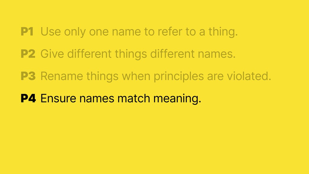 P1 Ensure names match meaning.