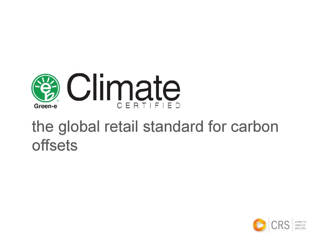 the global retail standard for carbon offsets