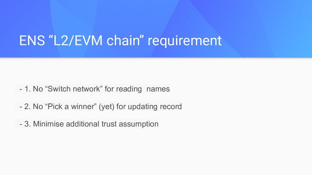 """ENS """"L2/EVM chain"""" requirement - 1. No """"Switch ..."""