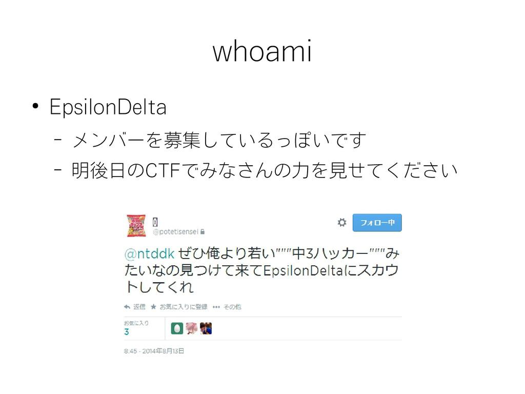 whoami ● EpsilonDelta – メンバーを募集しているっぽいです – 明後日の...