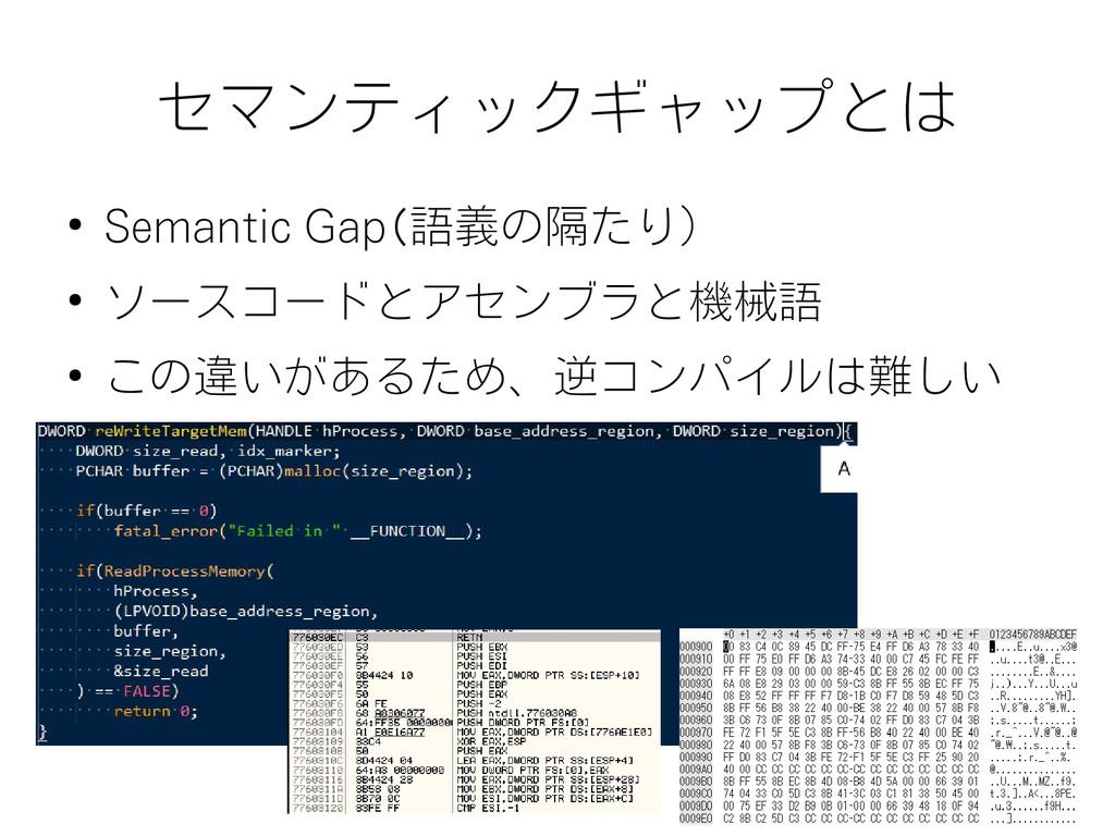 セマンティックギャップとは ● Semantic Gap(語義の隔たり) ● ソースコードとア...