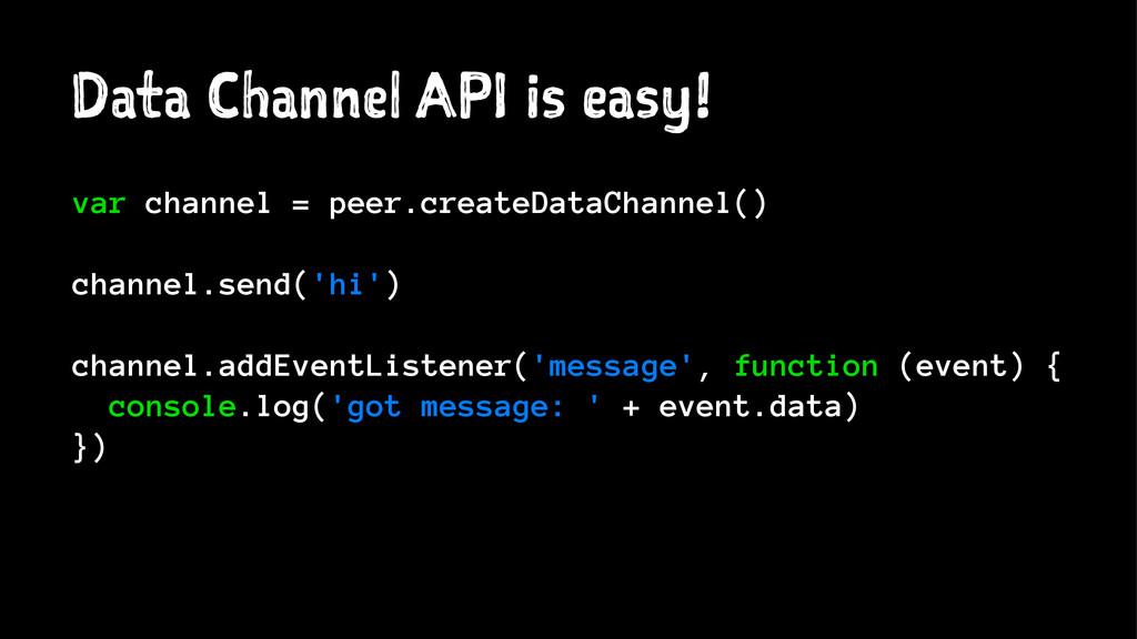 Data Channel API is easy! var channel = peer.cr...