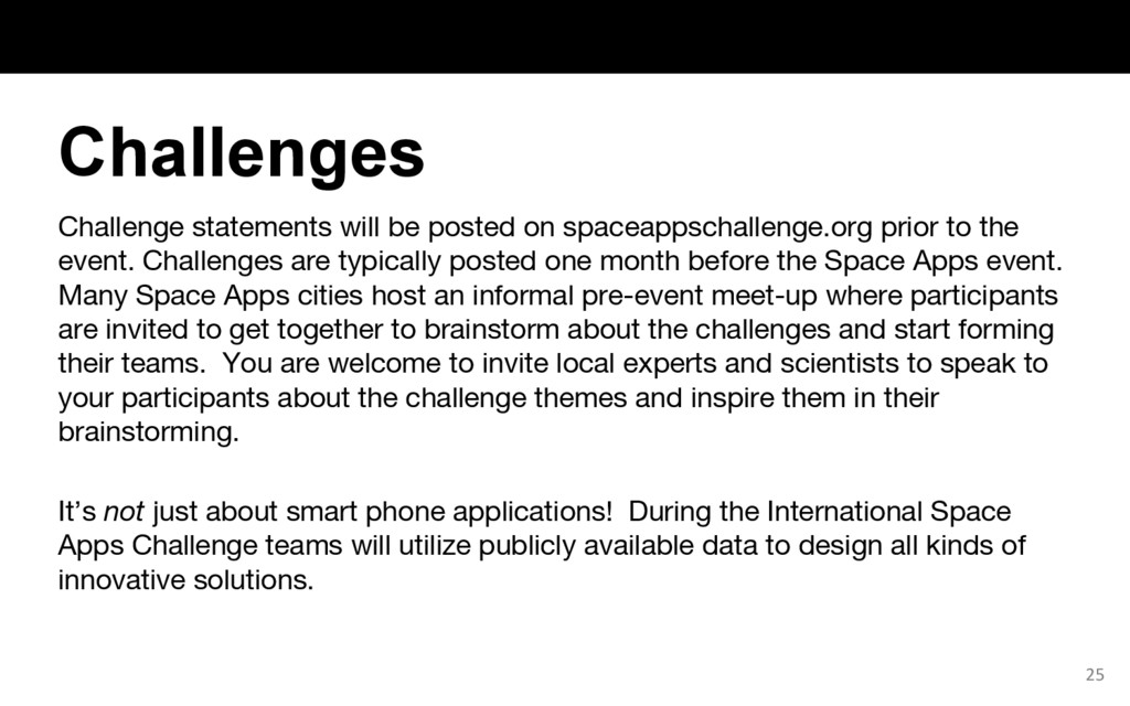 Challenge statements will be posted on spaceapp...