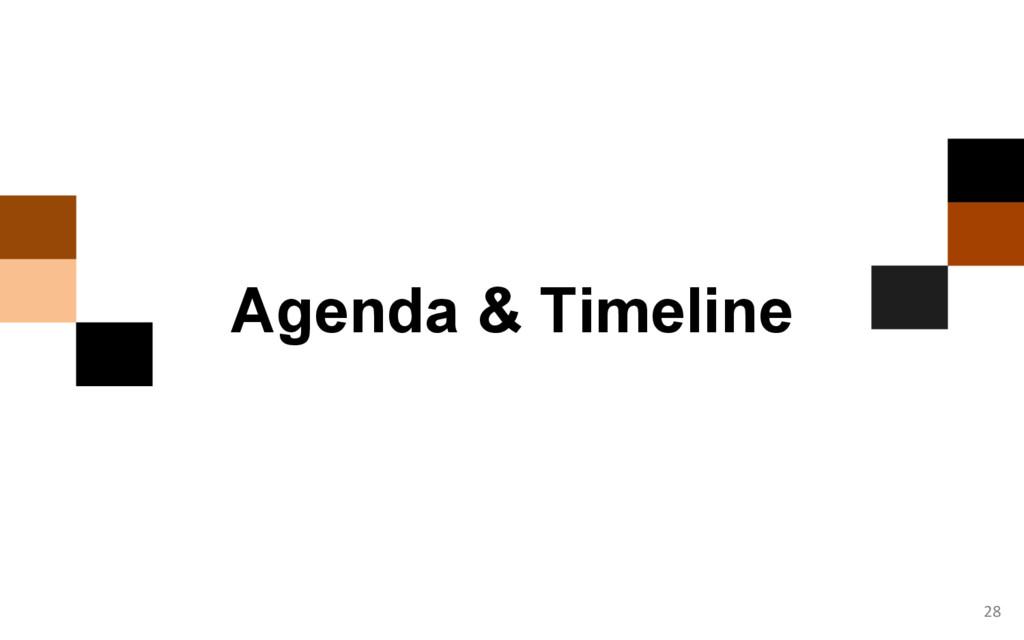 28 Agenda & Timeline