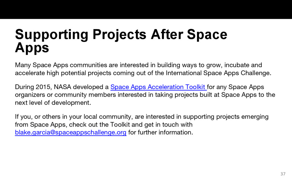 Many Space Apps communities are interested in b...