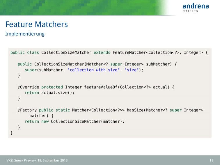 Feature Matchers Implementierung public class C...