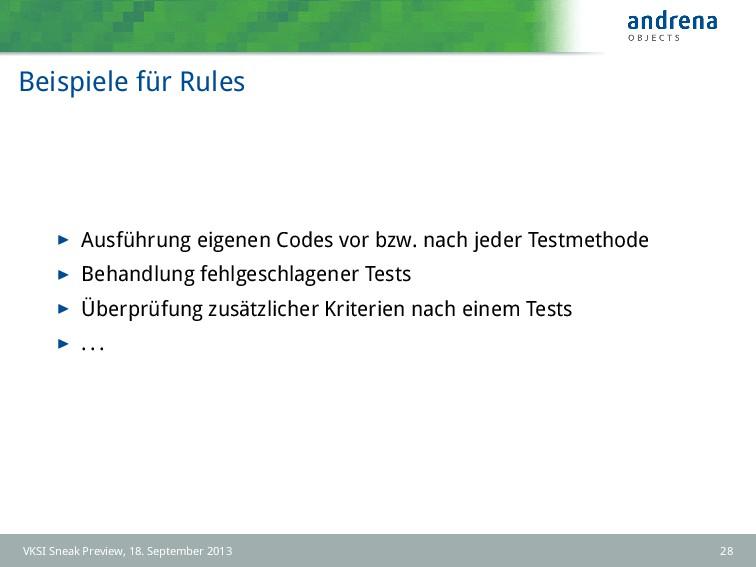 Beispiele für Rules Ausführung eigenen Codes vo...