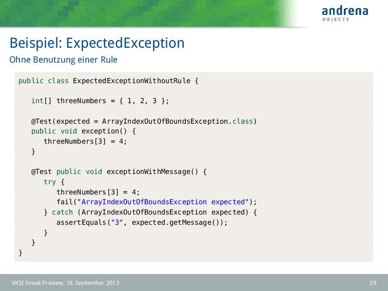 Beispiel: ExpectedException Ohne Benutzung eine...