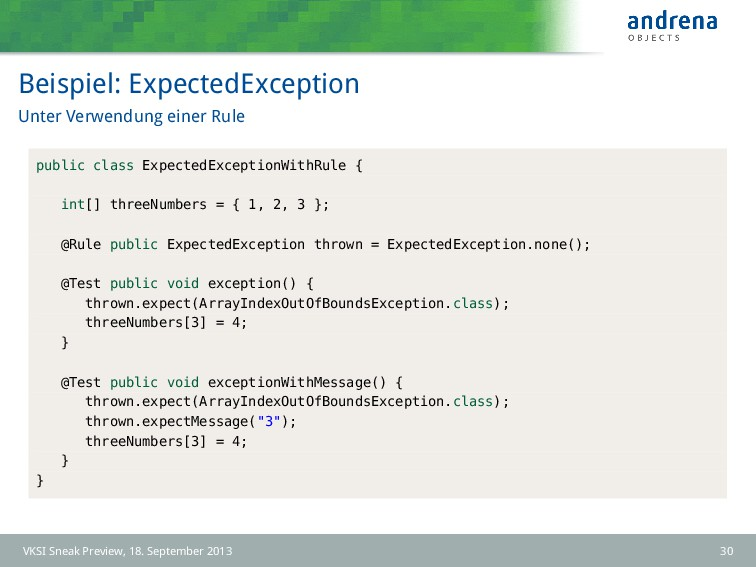 Beispiel: ExpectedException Unter Verwendung ei...