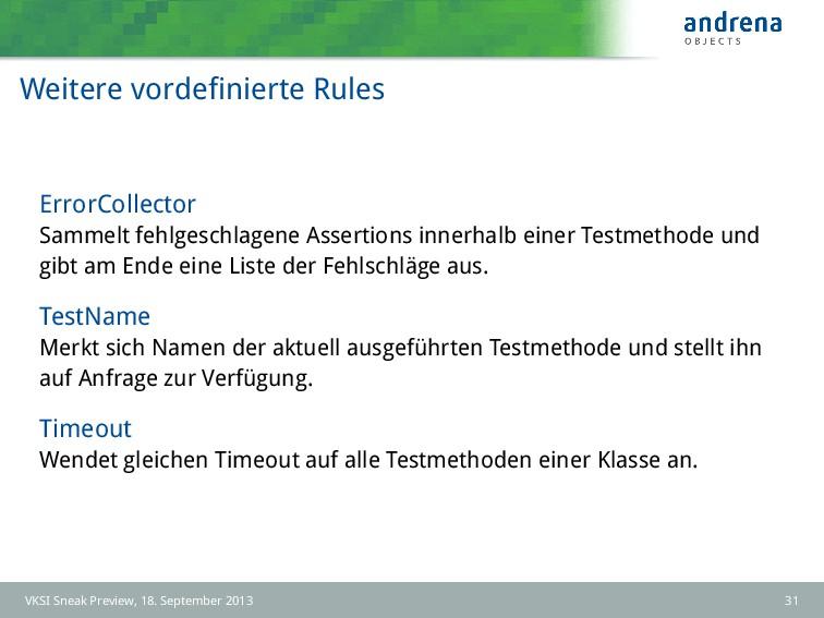 Weitere vordefinierte Rules ErrorCollector Samme...