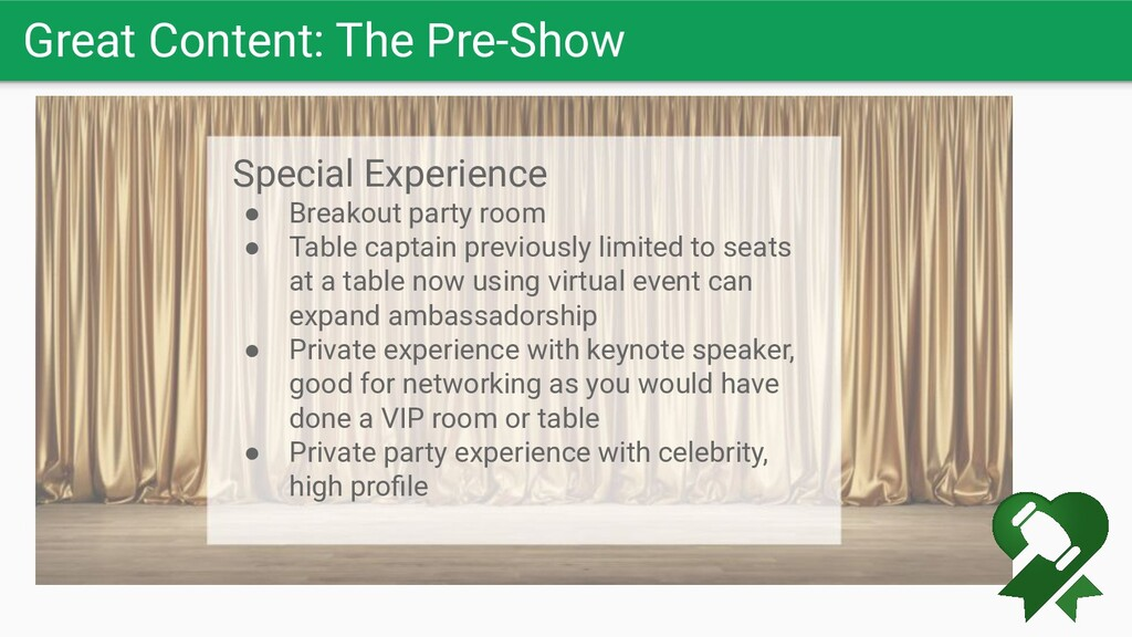 Great Content: The Pre-Show Special Experience ...