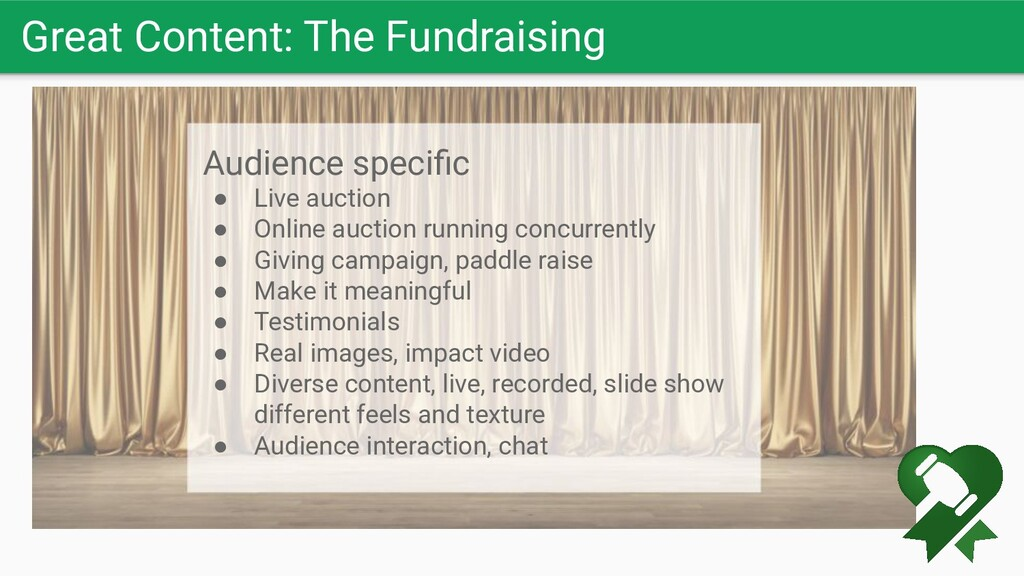 Great Content: The Fundraising Audience specific...