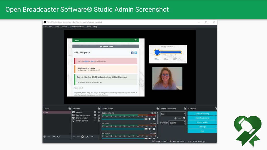 Open Broadcaster Software® Studio Admin Screens...