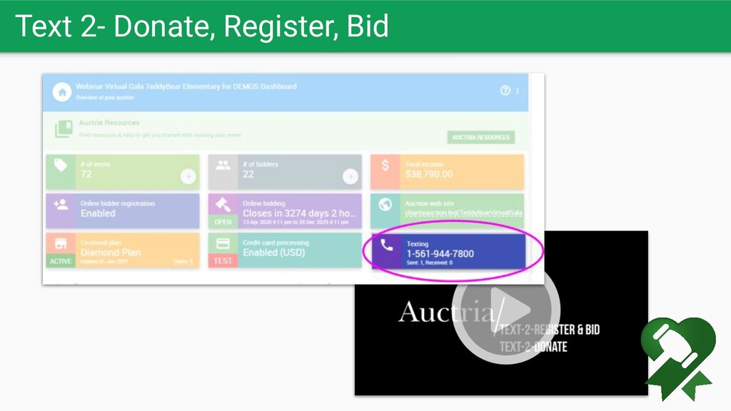 Text 2- Donate, Register, Bid