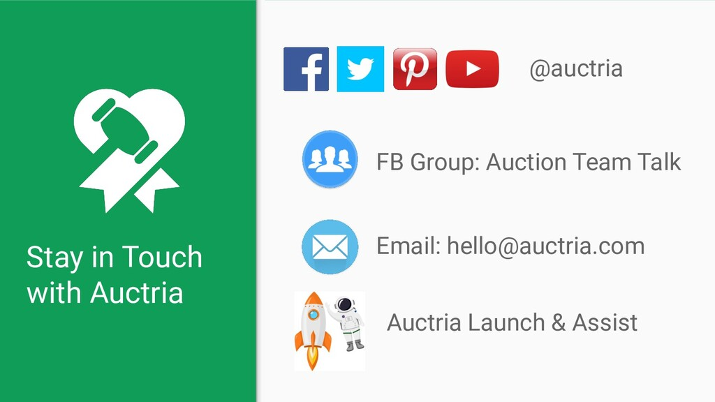 Stay in Touch with Auctria @auctria Email: hell...