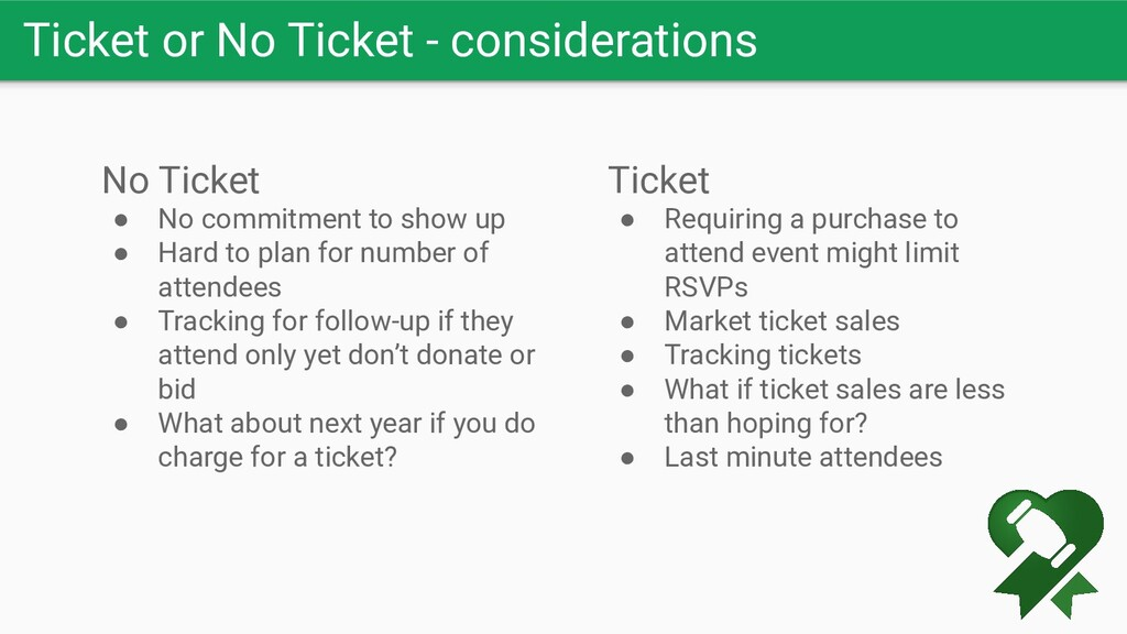 Ticket or No Ticket - considerations No Ticket ...