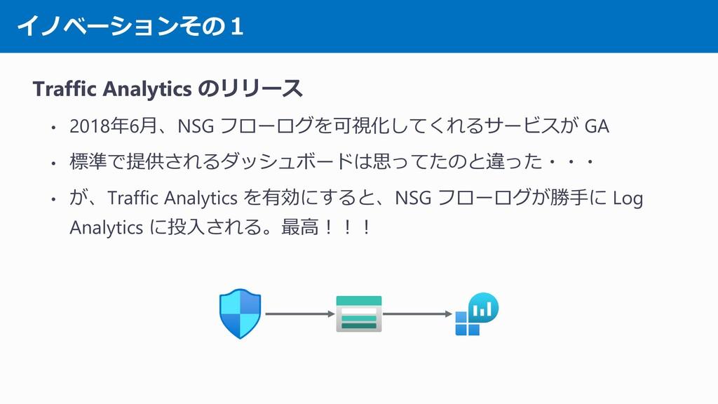 イノベーションその1 Traffic Analytics のリリース • 2018年6月、NS...