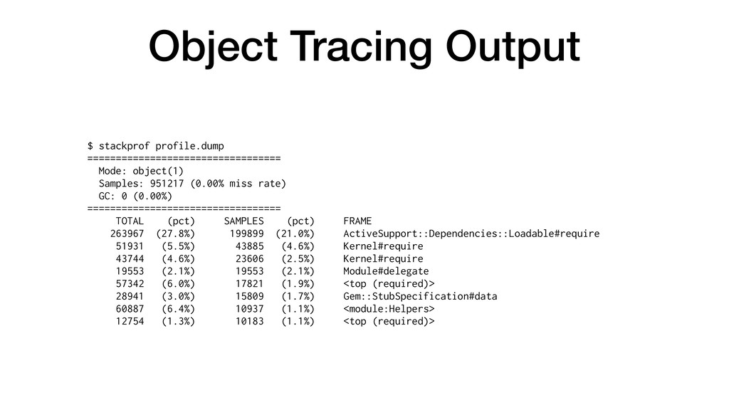 Object Tracing Output $ stackprof profile.dump ...