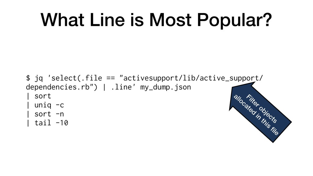 What Line is Most Popular? $ jq 'select(.file =...