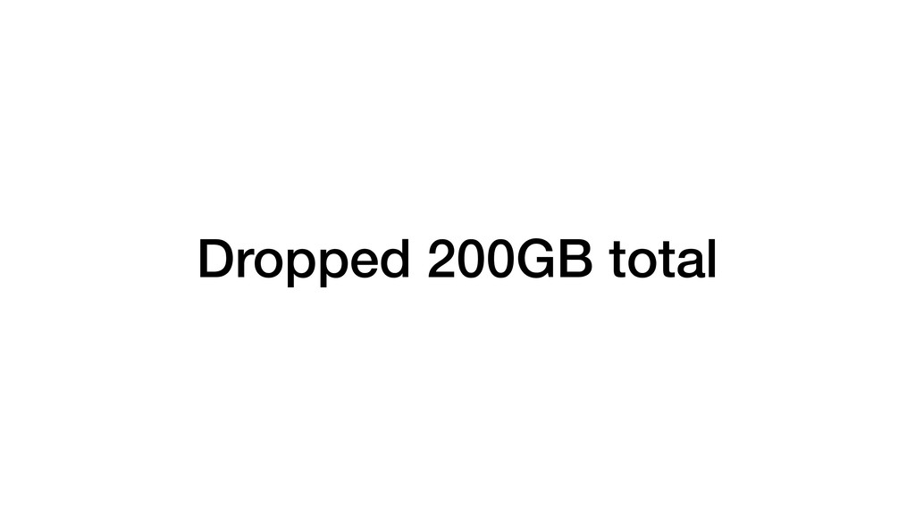 Dropped 200GB total