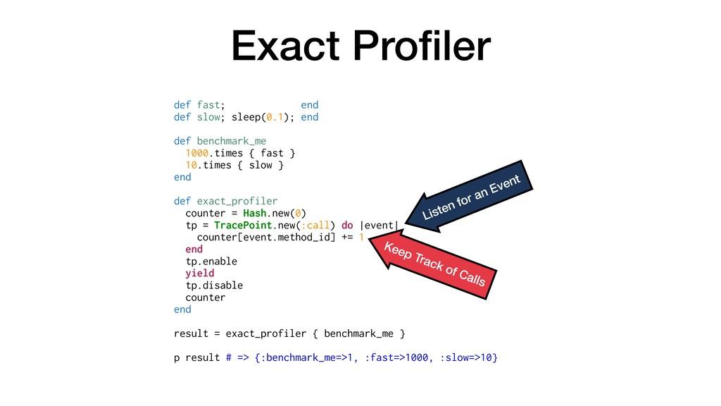 Exact Profiler def fast; end def slow; sleep(0.1...