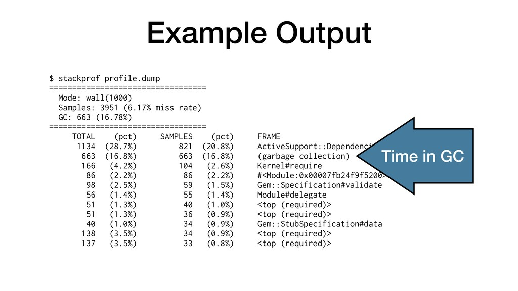 Example Output $ stackprof profile.dump =======...