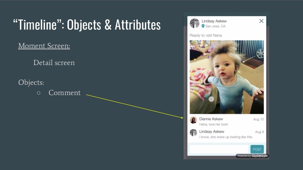 """""""Timeline"""": Objects & Attributes Moment Screen:..."""