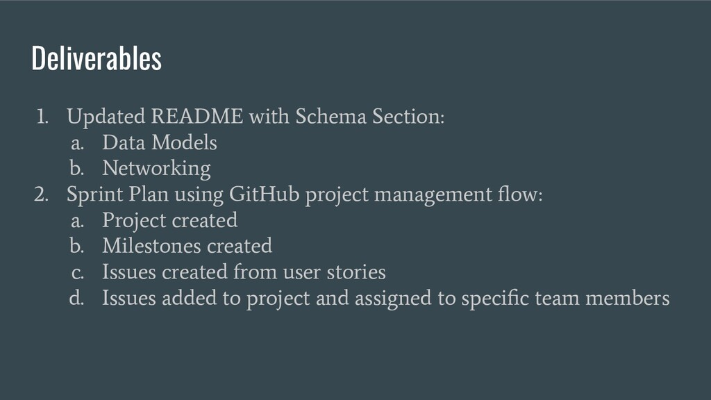 Deliverables 1. Updated README with Schema Sect...